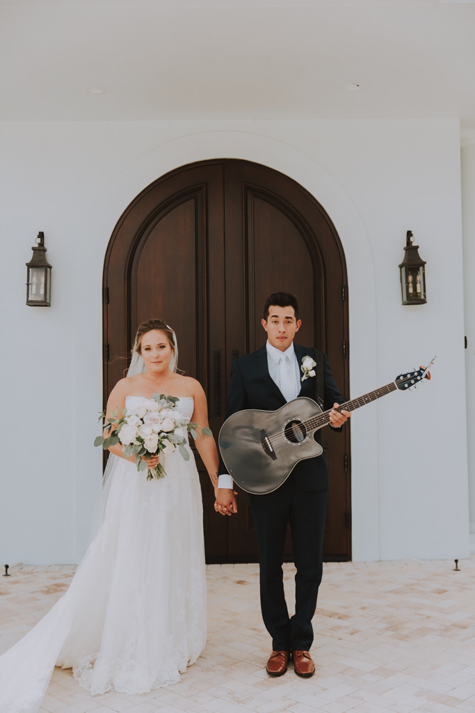 Groom Classic Black Tux | Lace Wedding Gown with Long Cathedral Veil | Bride Bouquet with Eucalyptus Greenery and White Roses