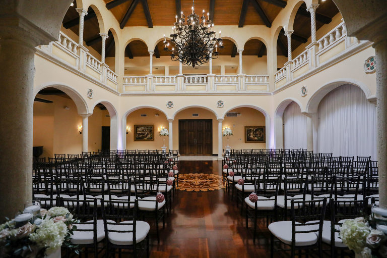 Tampa Wedding Venue Avila Golf & Country Club | Indoor Ceremony with Chiavari Chairs and Chandelier | Tampa Bay Wedding Photographer Lifelong Photography Studio