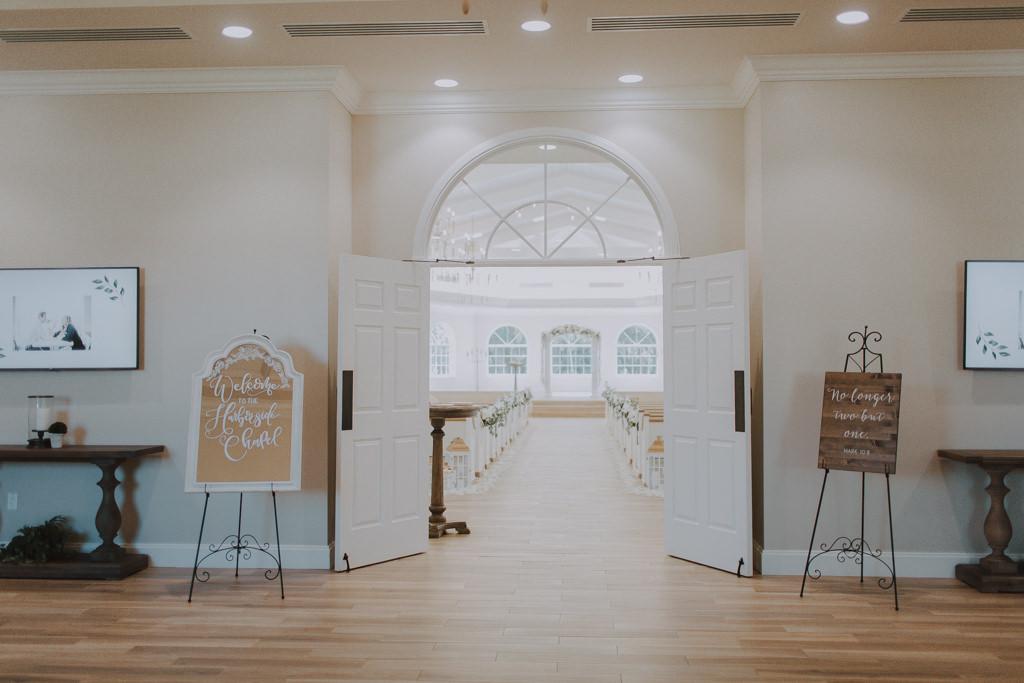 Clearwater Wedding Venue Harborside Chapel | Classic Traditional Church Wedding Ceremony | Custom Wedding Welcome Sign Mirror
