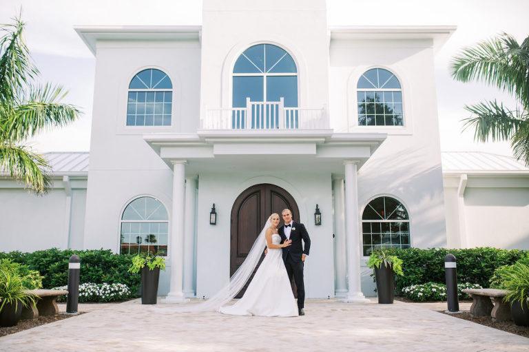 Classic Modern Bride and Groom Wedding Portrait | Safety Harbor Church Wedding Venue Harborside Chapel