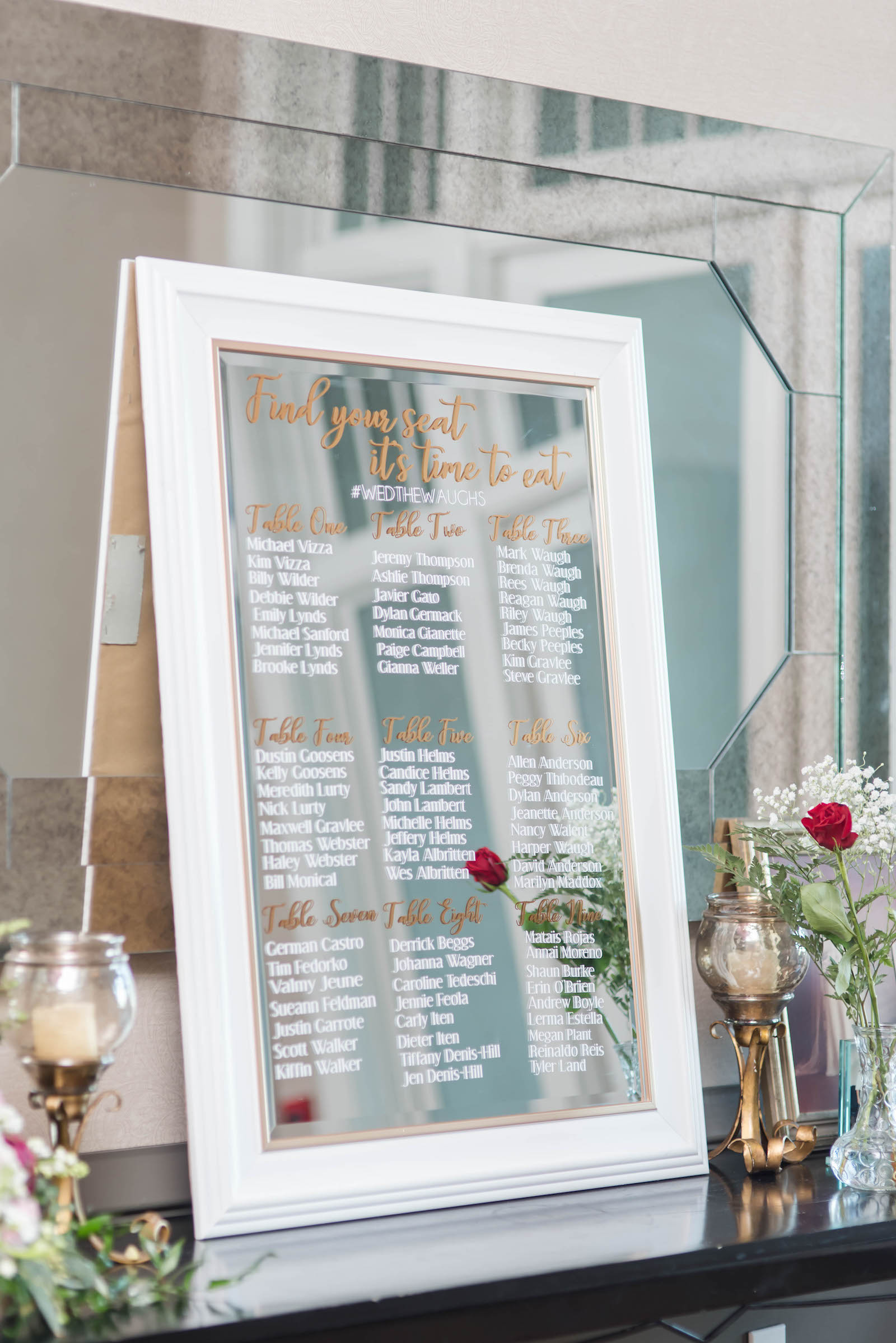 Wedding Seating Chart Mirror with Gold and White Paint Pen Calligraphy