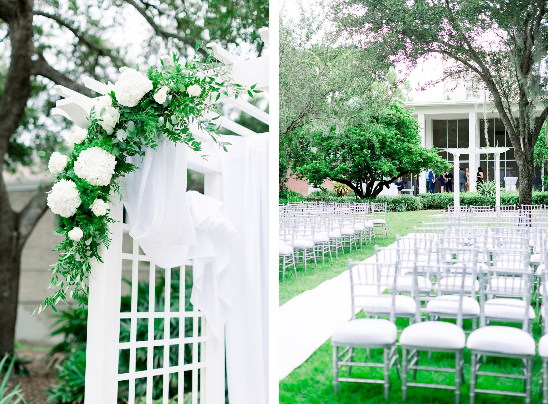 Garden-Glam Outdoor Wedding Ceremony Arbor Arch with White Draping, Hydrangeas, Roses and Greenery Floral Arrangements and Aisle Runner, Silver Chiavari Chairs | Wedding Venue Tampa Garden Club | Wedding Photographer Shauna and Jordon Photography