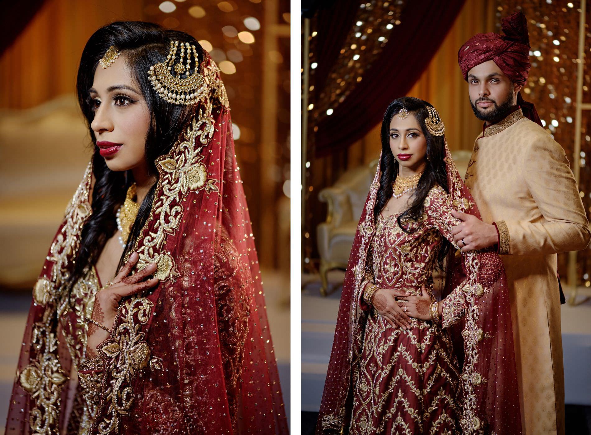 Florida Indian Wedding Bride and Groom Portraits | Deep Red Burgundy and Gold Wedding Bridal Sari and Groom Kurta | Tampa Bay Wedding Hair and Makeup Artist Michele Renee the Studio