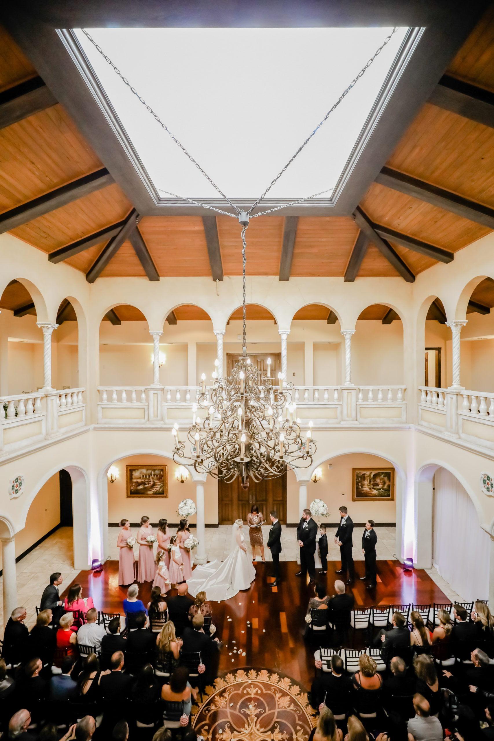 Tampa Wedding Venue Avila Golf & Country Club | Indoor Ceremony with Chiavari Chairs and Chandelier | Tampa Bay Wedding Photographer Lifelong Photography Studio