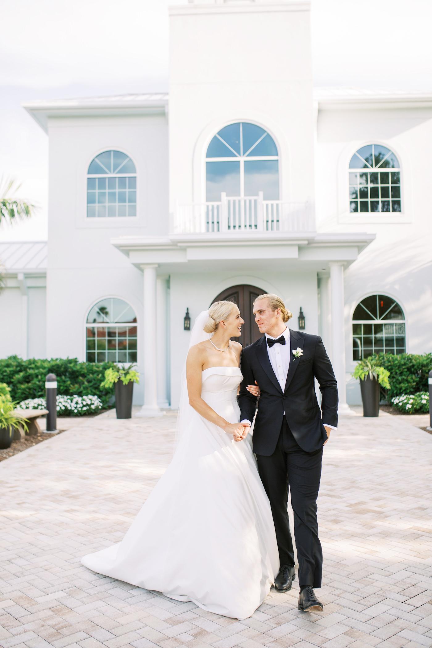 Classic Timeless Bride and Groom Wedding Portrait | Safety Harbor Church Wedding Venue Harborside Chapel