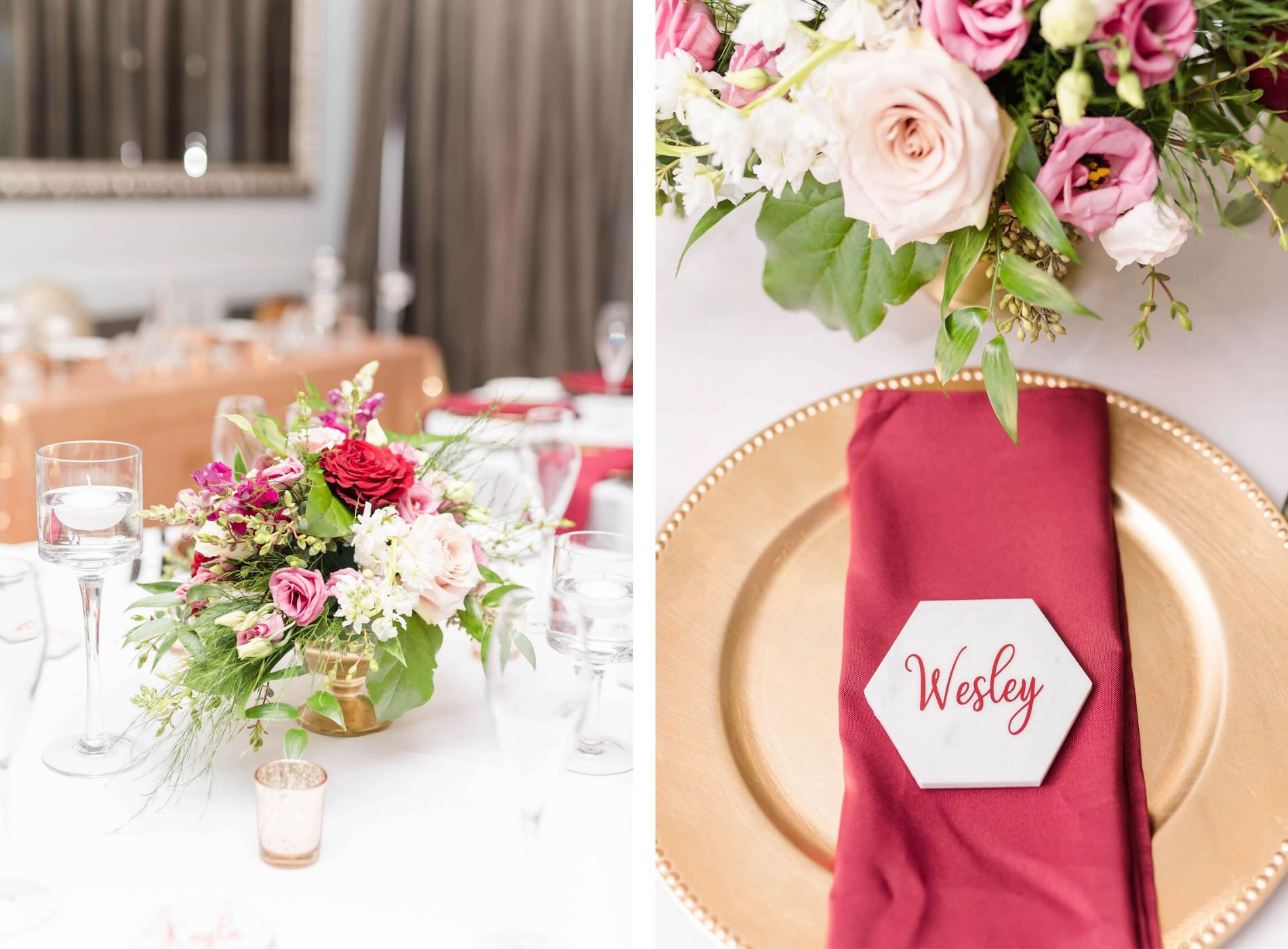 Indoor Ballroom Wedding Reception Table with White Linen Tablecloth and Gold Pedestal Centerpieces with Blush Pink Dusty Rose and Burgundy Roses and Greenery   Wedding Place Setting with Gold Charger Plate and Burgundy Napkin with Geometric Tile Calligraphy Place Card