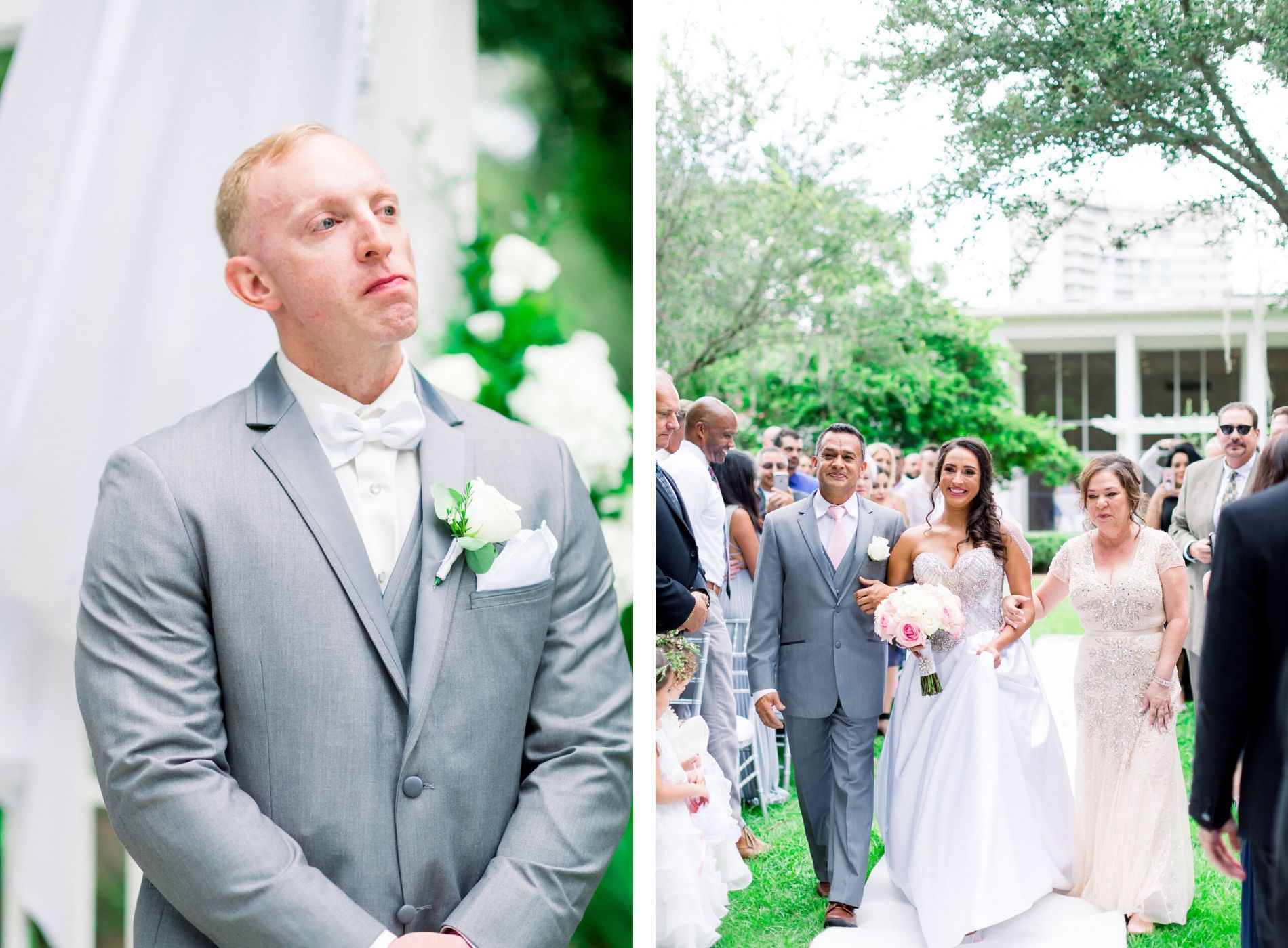 Groom in Gray Suit Reaction to Bride Walking Down the Aisle, Bride with Parents Processional Wedding Portrait | Wedding Venue Tampa Garden Club | Wedding Photographer Shauna and Jordon Photography | Wedding Dress Truly Forever Bridal