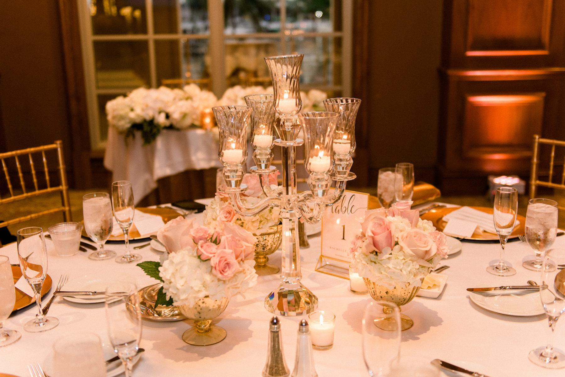 Classic Elegant Wedding Ballroom Reception Decor, Crystal Glass Candelabra Centerpiece | Tampa Wedding Planner Special Moments Event Planning