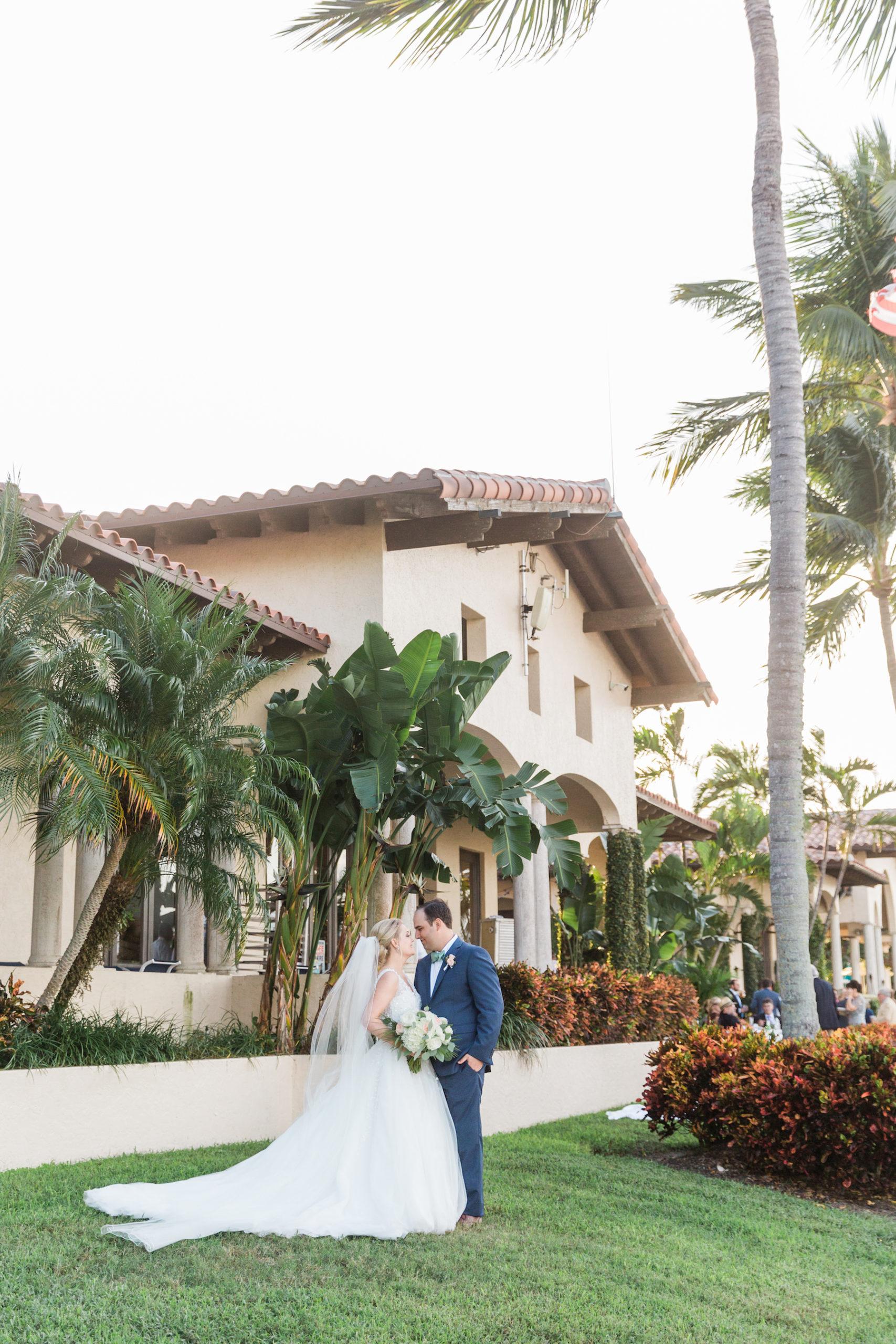 Destination Florida Bride and Groom Lawn Wedding Portrait | Sarasota Wedding Venue The Resort at Longboat Key Club