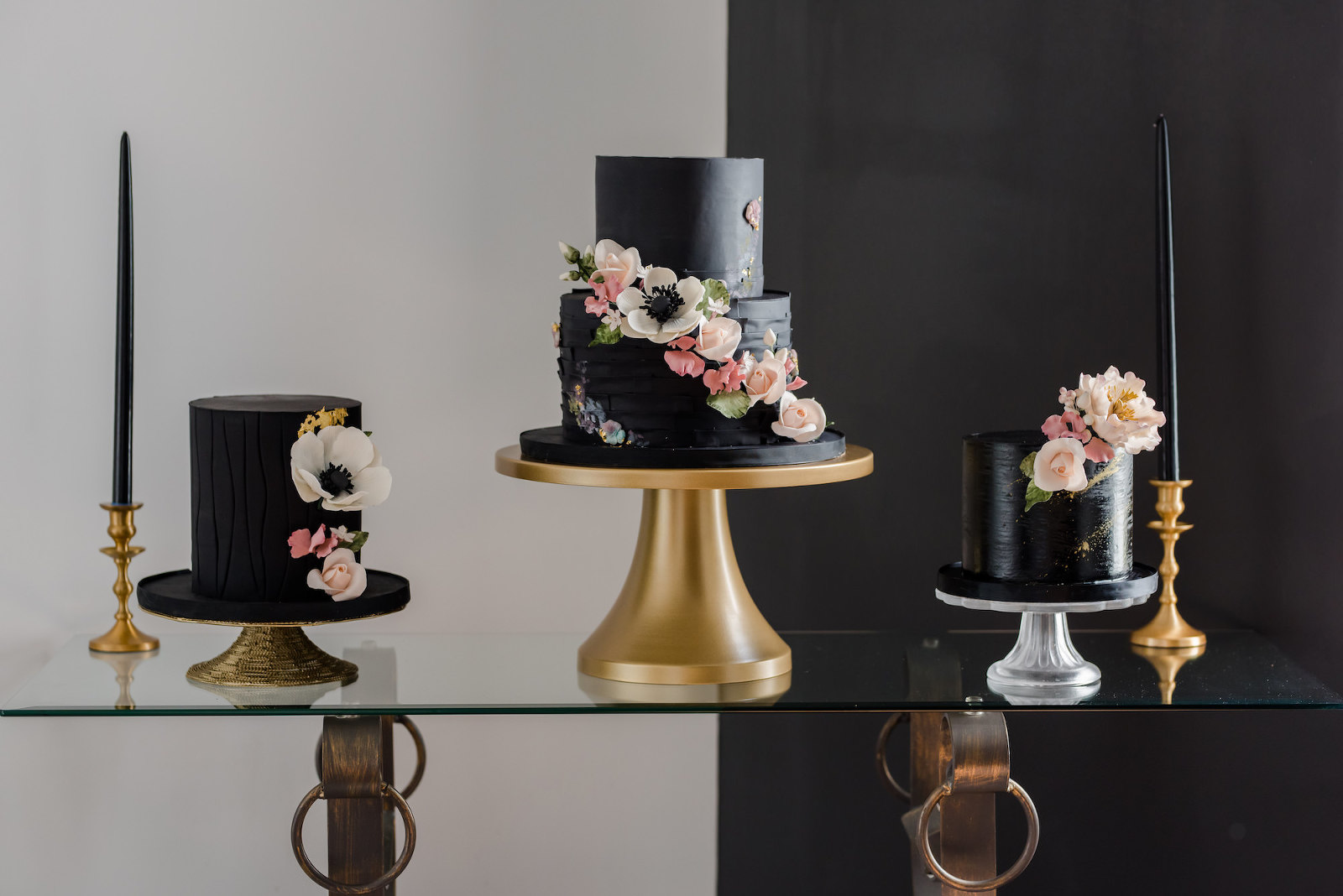 Dark Luxe, Unique Three Separate Black Wedding Cakes with Cascading Blush Pink and Anemone Flowers | Tampa Wedding Cake Company Tampa Bay Cake Company | Wedding Planner Elegant Affairs by Design