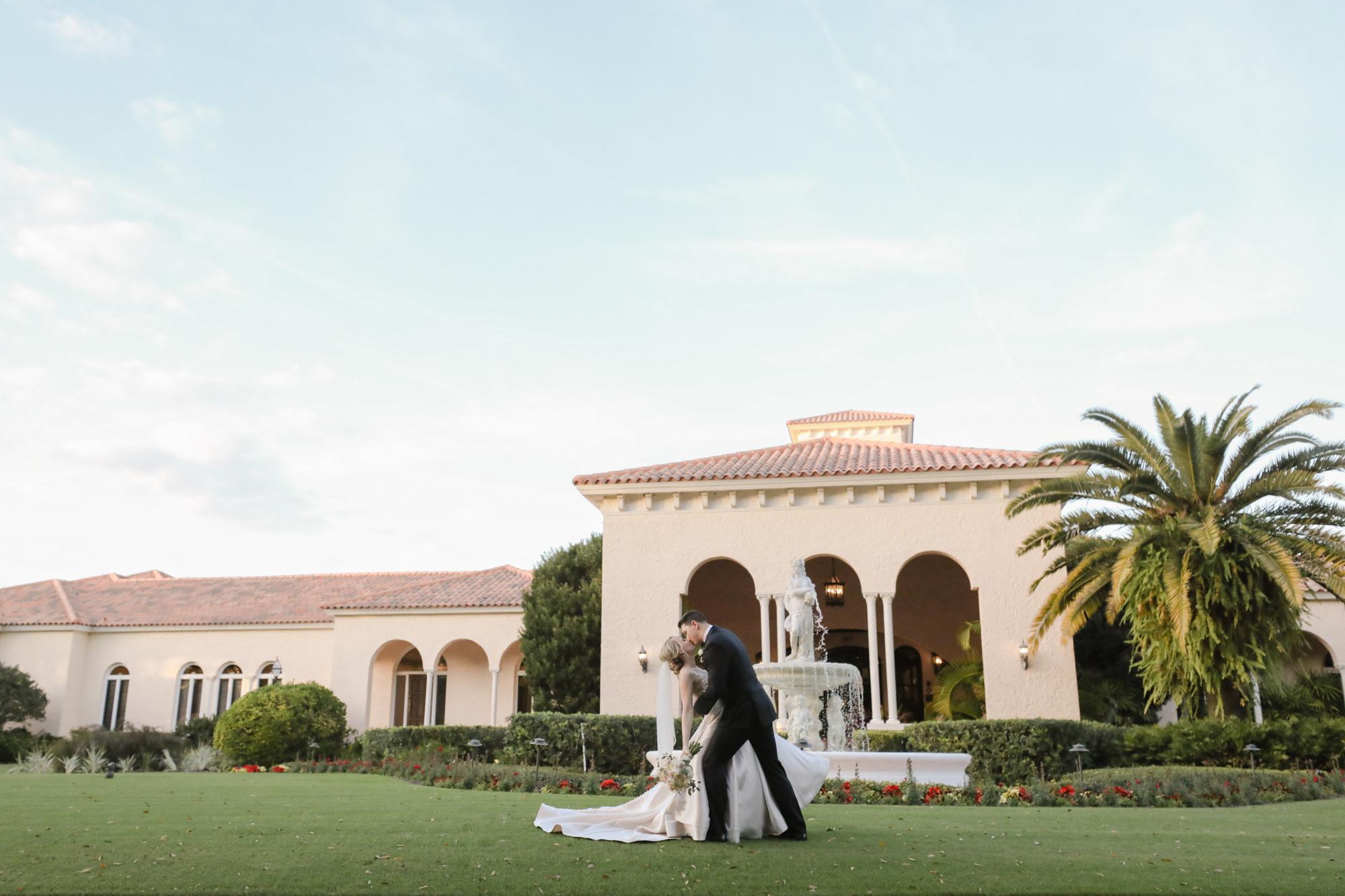 Tampa Wedding Venue Avila Golf & Country Club | Bride and Groom Outdoor Fountain Portrait | Tampa Bay Wedding Photographer Lifelong Photography Studio