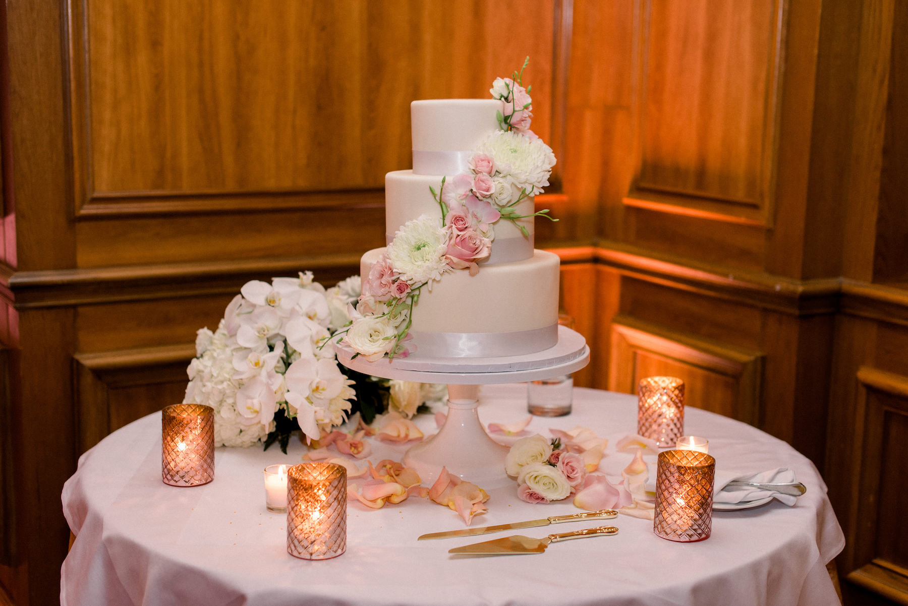 Classic Three Tier White and Silver Wedding Cake with Cascading Blush Pink and Dahlia Flowers, White Orchid Bouquet, Gold Candles | Tampa Wedding Planner Special Moments Event Planning