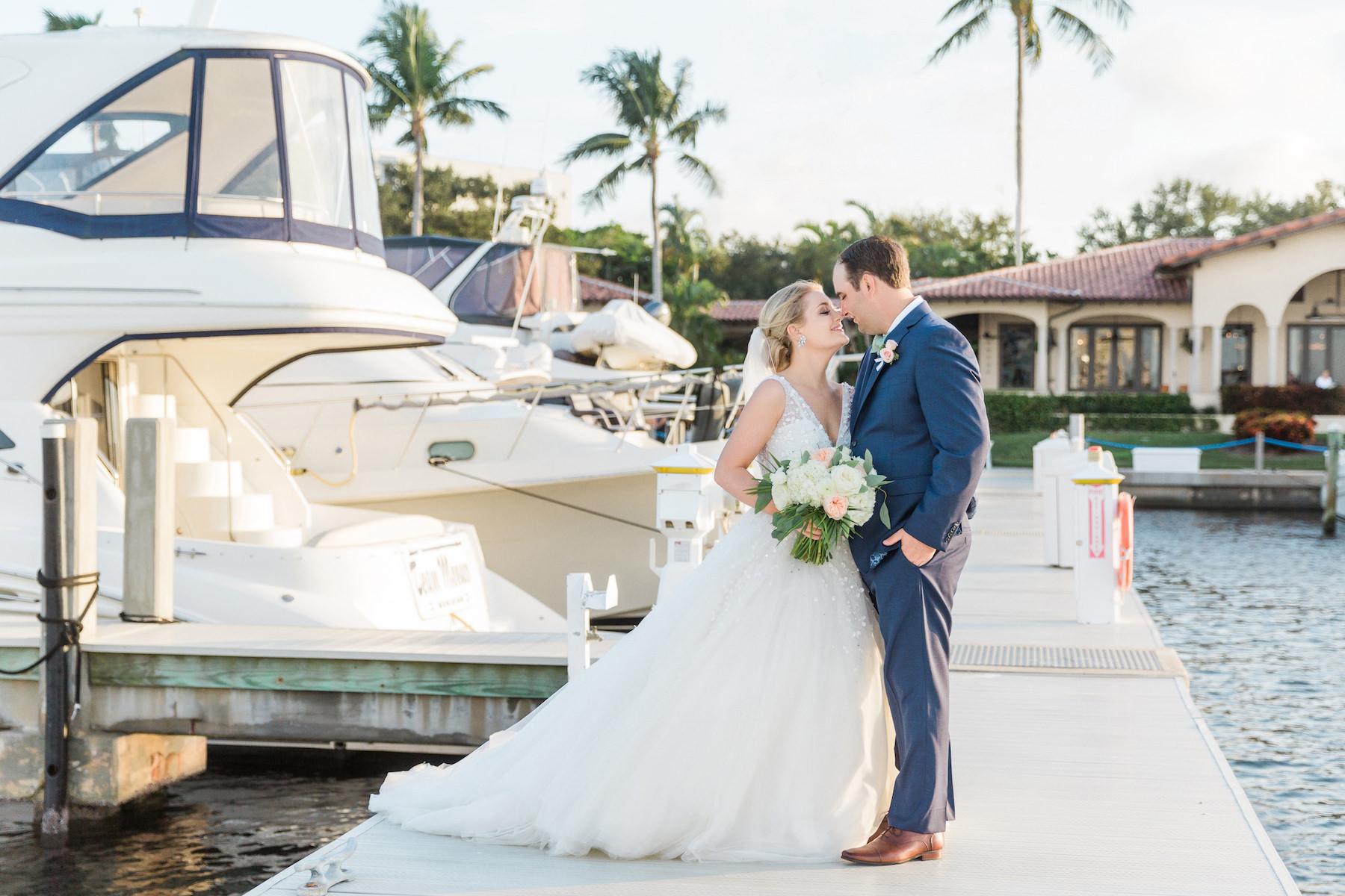 Destination Florida Bride and Groom Waterfront Marina Wedding Portrait with Yacht | Sarasota Wedding Venue The Resort at Longboat Key Club
