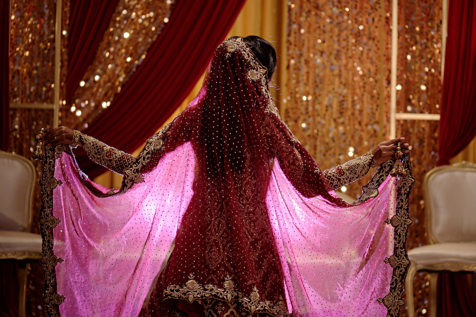 Florida Indian Wedding Bridal Portrait | Deep Red Burgundy and Gold Wedding Bridal Sari and Veil