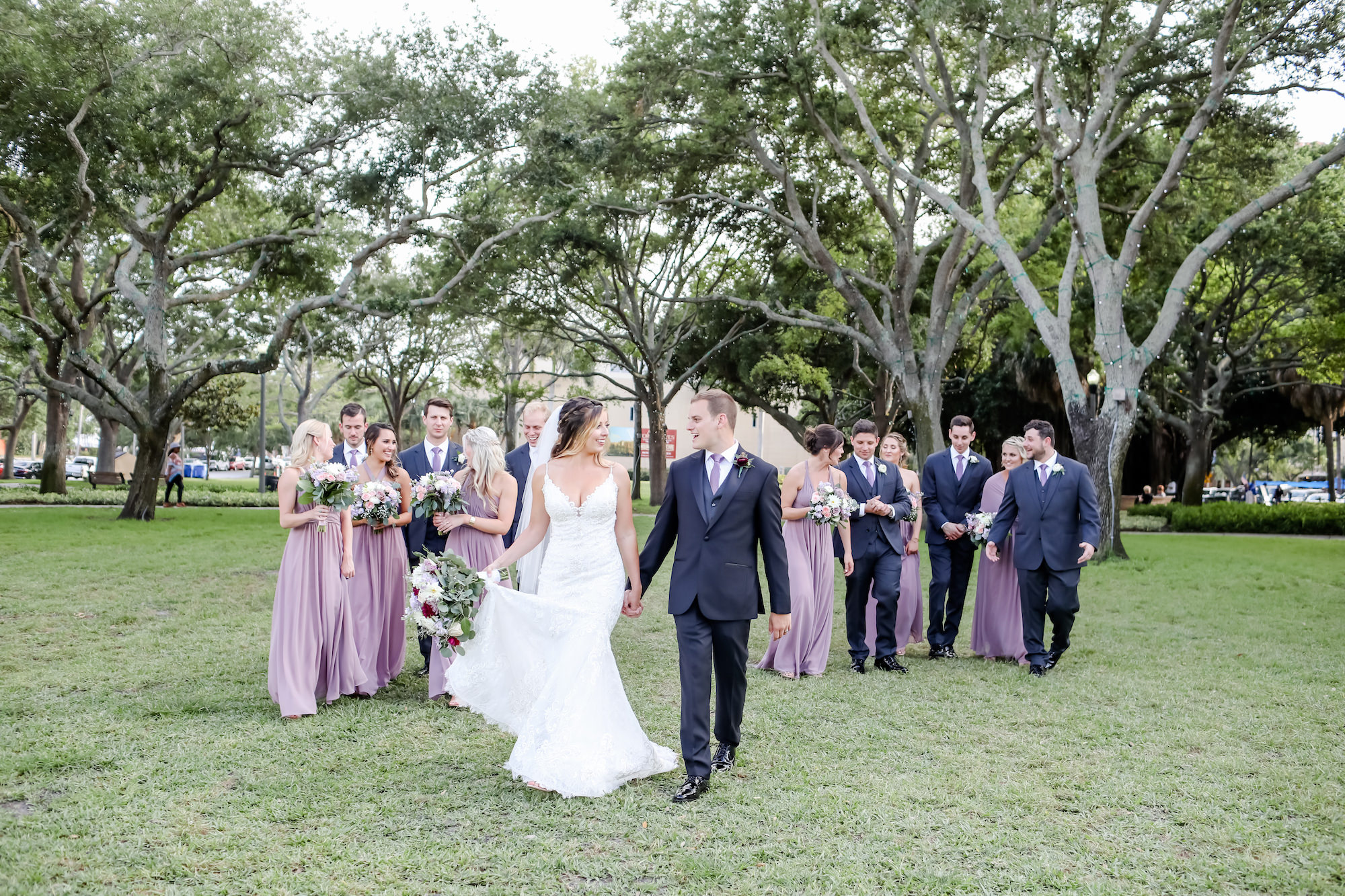 Florida Wedding Party in Straub Park in Downtown St. Petersburg, Bridesmaids Wearing Long Mix and Match Mauve Dresses, Groomsmen in Purple Ties   Florida Wedding Photographer Lifelong Photography Studio   Wedding Hair and Makeup Artists Michele Renee the Studio