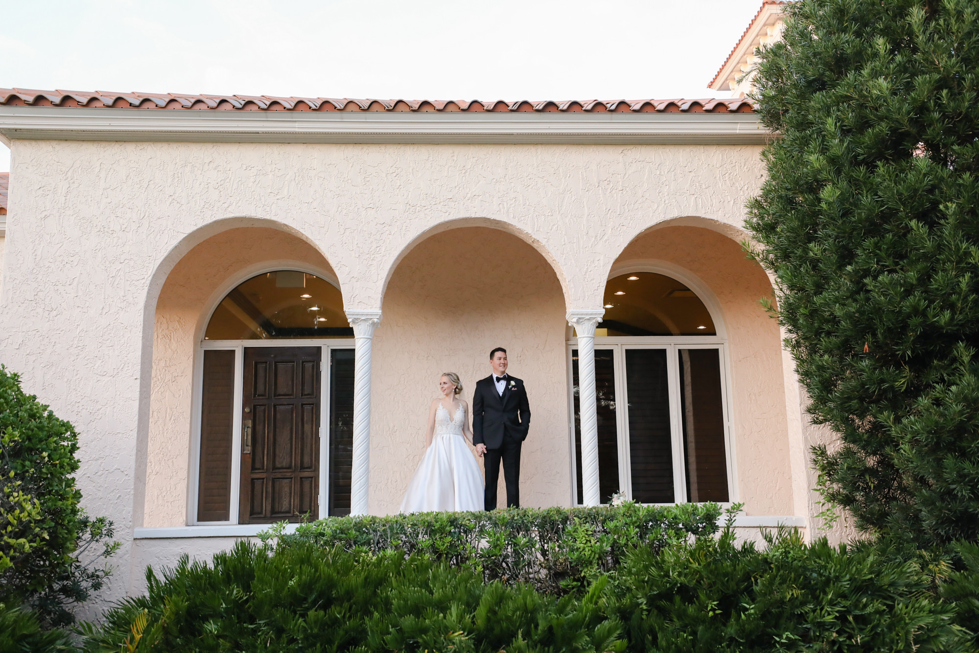 Tampa Wedding Venue Avila Golf & Country Club | Bride and Groom Outdoor Garden Portrait | Tampa Bay Wedding Photographer Lifelong Photography Studio