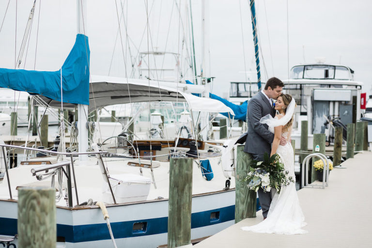 Bride and Groom Portraits at Marina Dock by Boats | St. Pete Wedding Venue Isla Del Sol