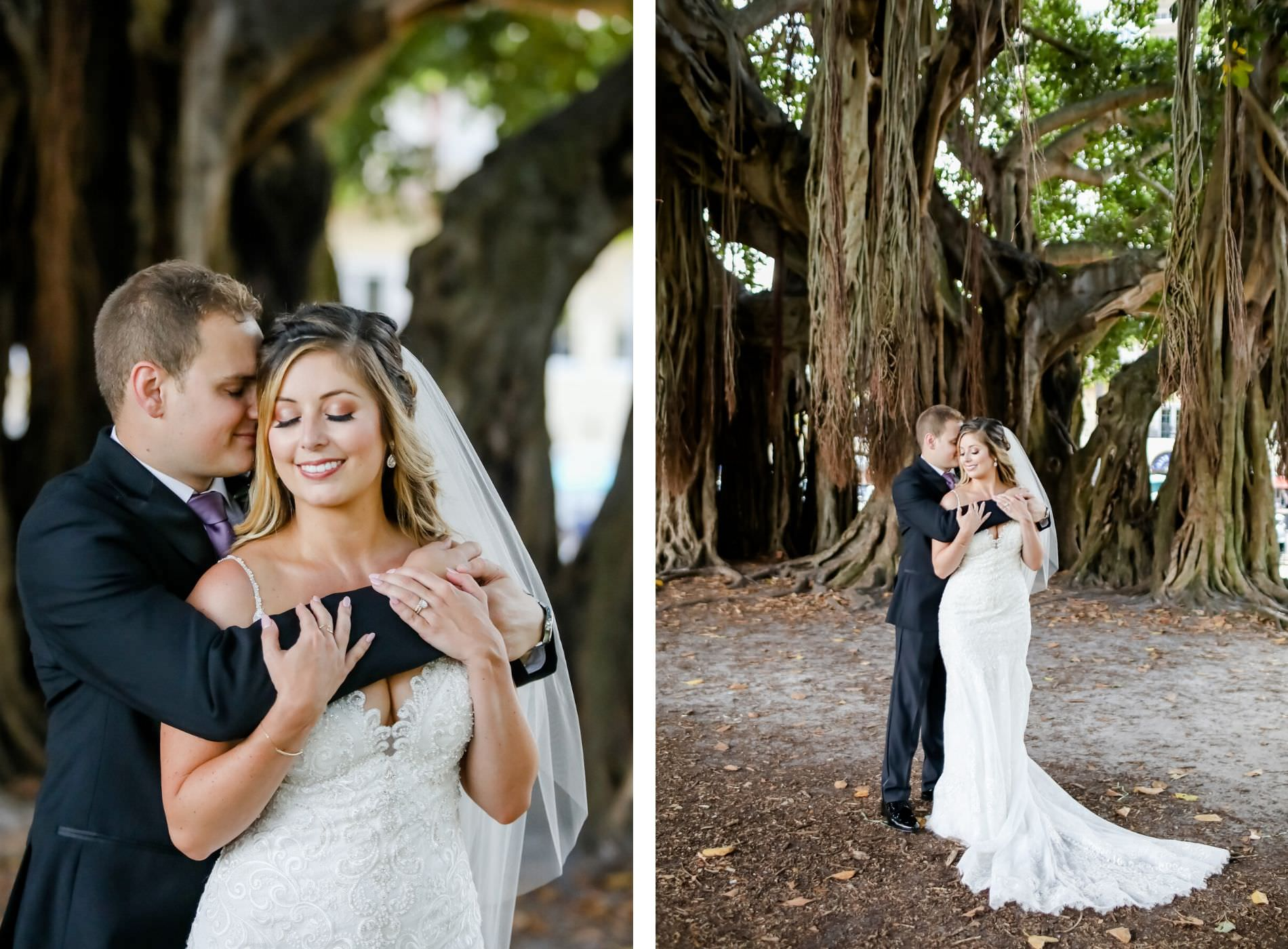 Florida Bride and Groom Embrace In Front of Banyan Trees in Staub Park Downtown St. Petersburg   Tampa Bay Hair and Makeup Artist Michele Renee The Studio   Florida Wedding Photographer Lifelong Photography Studio