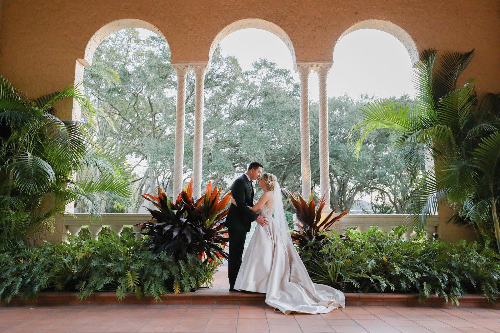 Bride and Groom Outdoor Garden Wedding Portrait | Tampa Bay Wedding Photographer Lifelong Photography Studio | Tampa Wedding Venue Avila Golf & Country Club