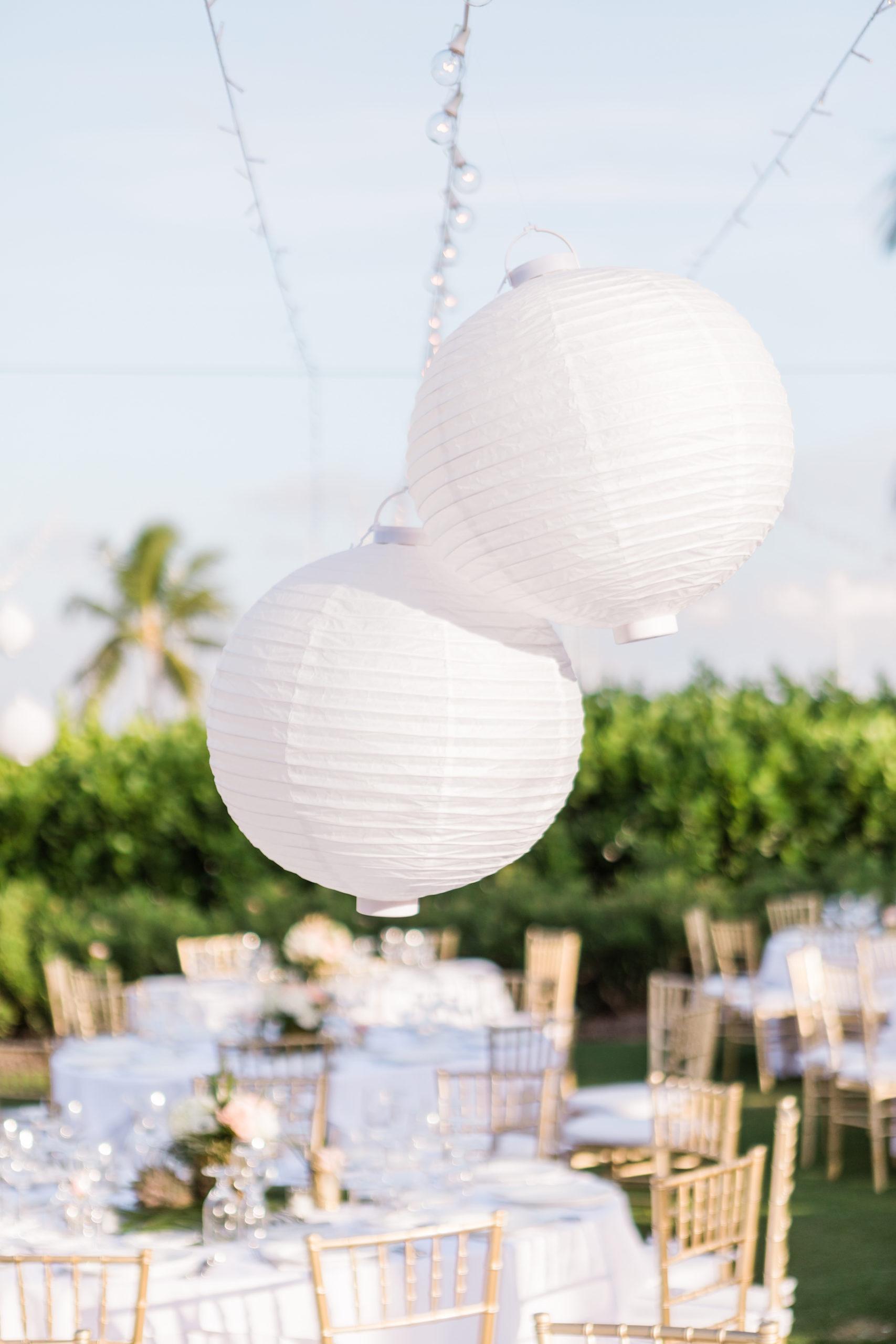 Outdoor Florida Lawn Wedding Reception with Hanging White Lanterns