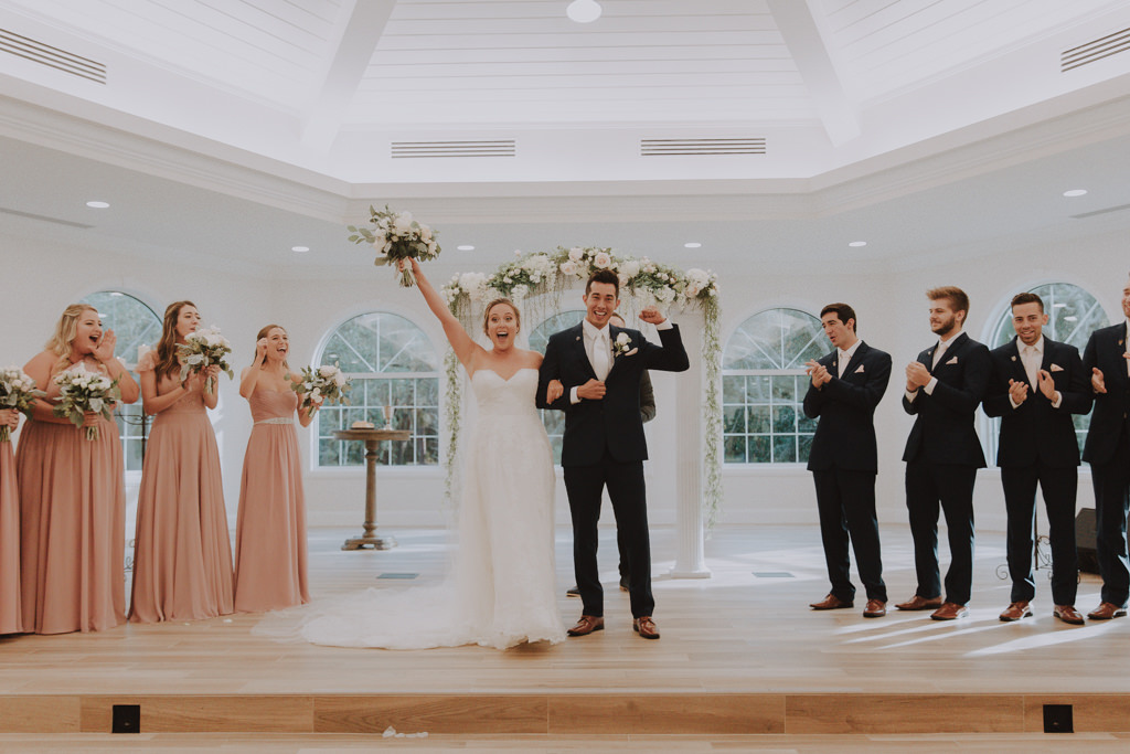 Just Married | Wedding Ceremony Pronouncement | Clearwater Wedding Venue Harborside Chapel | Classic Traditional Church Wedding Ceremony
