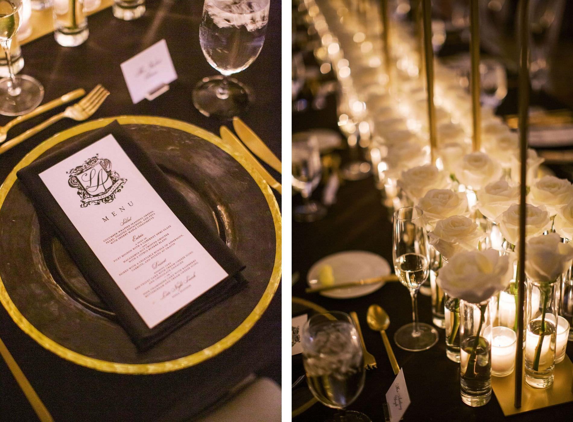 Classic Timeless Elegant Wedding Reception Decor, Gold Rimmed Chargers, Black Linen, Custom Monogram Dinner Menu, White Roses in Cylinder Vases | Tampa Bay Wedding Planner Parties A'la Carte