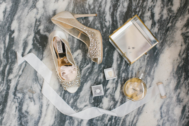Elegant Wedding Accessories, Bride's Badgley Mischka Ivory, Illusion with Rhinestones Peep Toe Wedding Shoes, Round Diamond Engagement Ring, Perfume Bottle and Clear and Gold Rimmed Jewelry Box