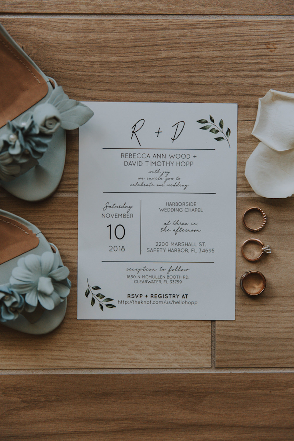 Classic Simple Modern Wedding Invitation Stationery Suite | White Calligraphy Invitation with Eucalyptus Greenery
