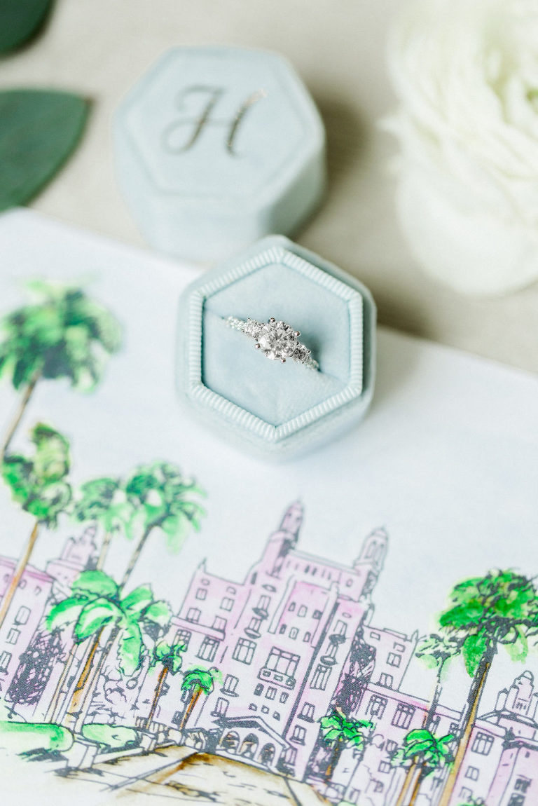 Solitaire Diamond Wedding Engagement Ring | Watercolor Venue Wedding Invitation Suite | Unique Wedding Stationery Set | | Tampa Bay Custom Wedding Watercolor Save The Date Designer A & P Design Co