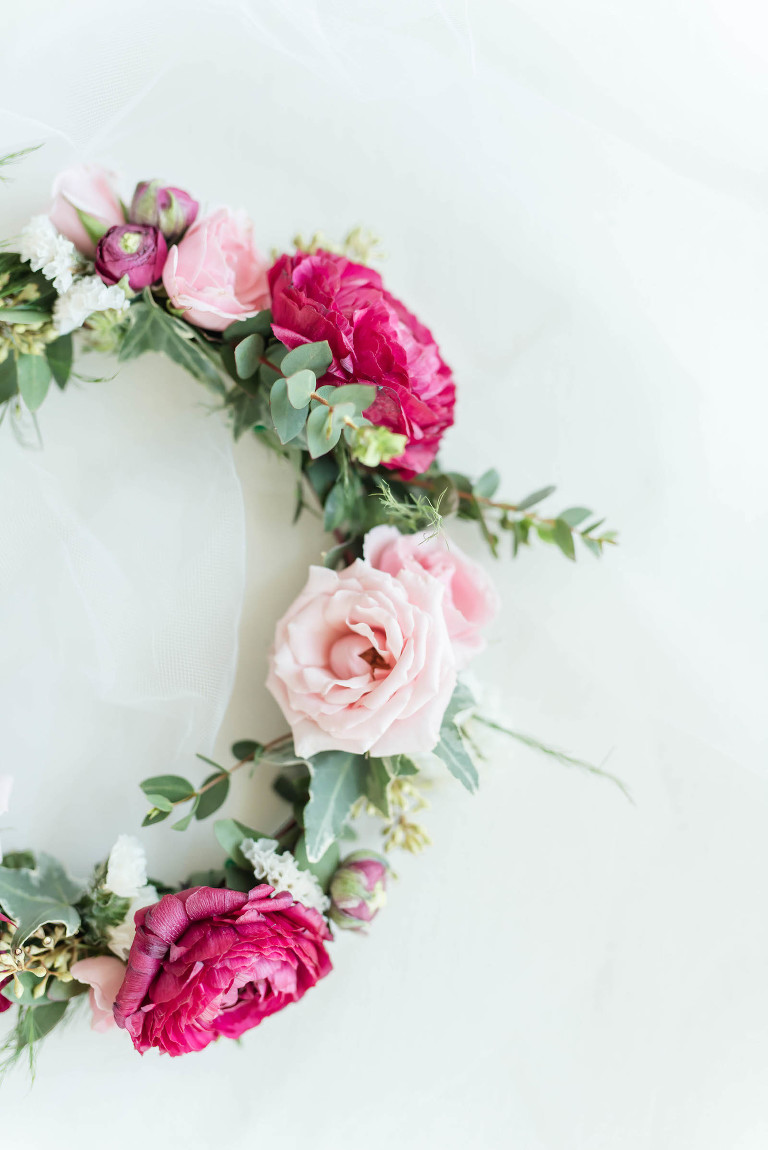Bride Floral Halo Crown with Blush Pink Dusty Rose Garden Roses and Ivy Greenery and Eucalyptus
