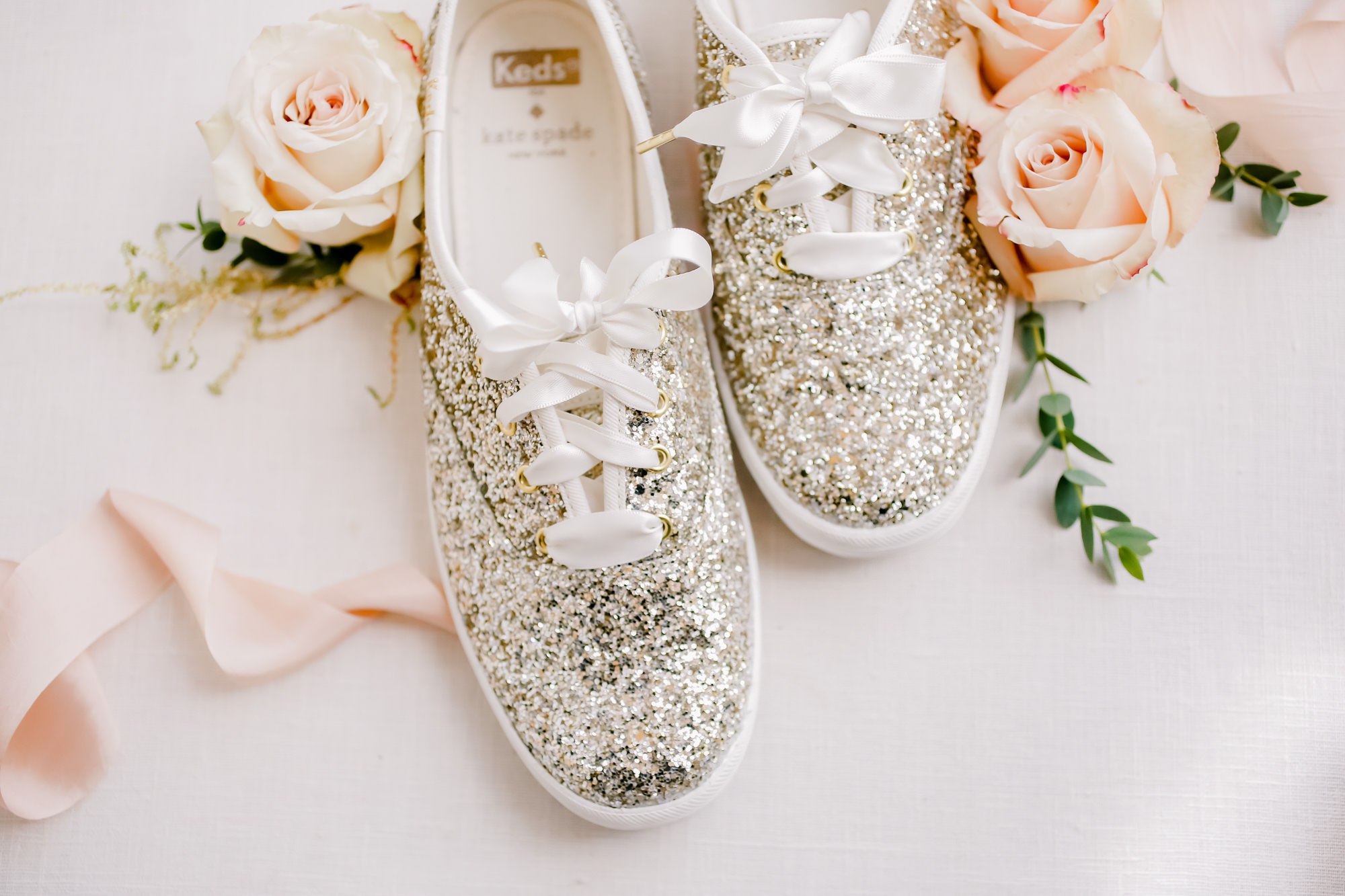 Tampa Wedding Bride Tennis Shoes Gold Glitter Keds by Kate Spade