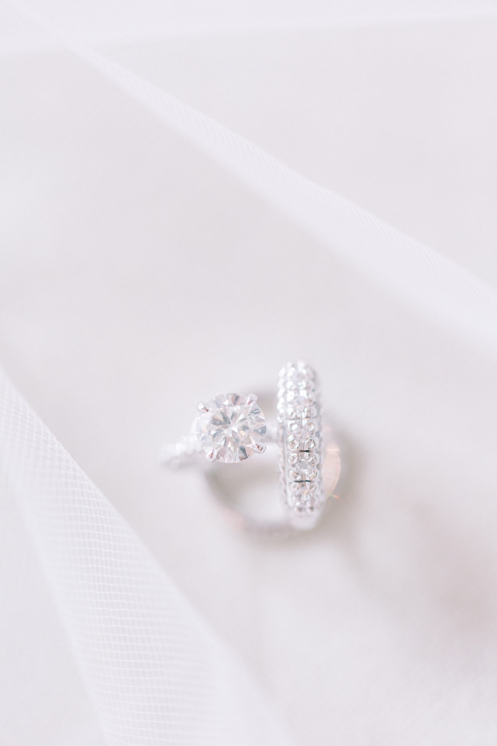 Diamond Solitaire Engagement Ring and Diamond Tampa Bride Wedding Band | Tampa Wedding Photographer Shauna and Jordon Photography