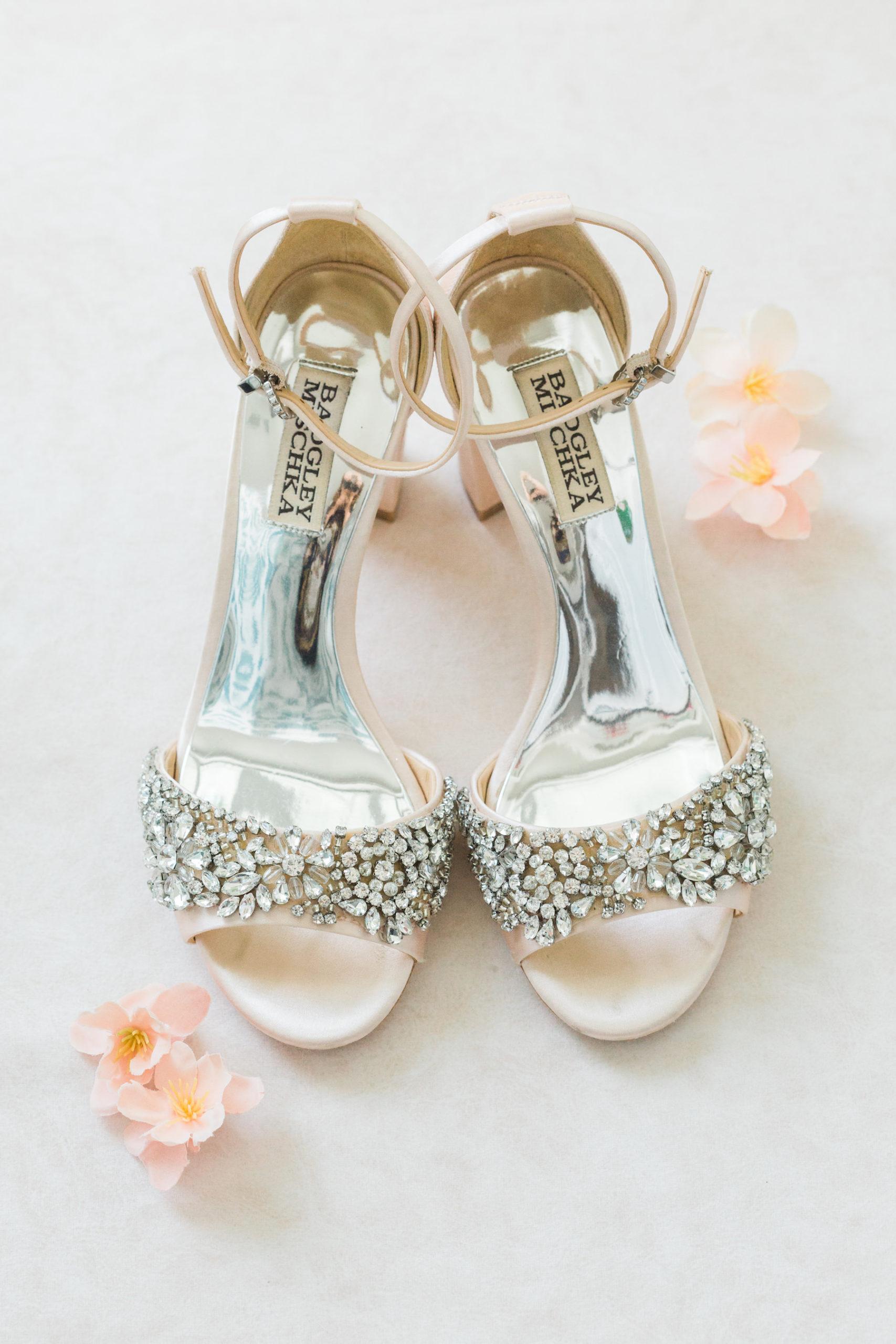 Open Toed Badgley Mischka Rhinestone Wedding Shoes