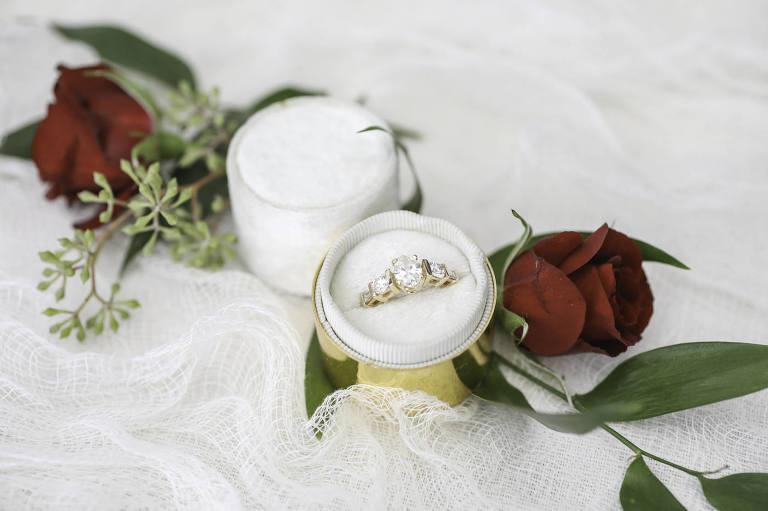 Round Three Diamond Engagement Yellow Gold Ring | Wedding Photographer Lifelong Photography Studio | Tampa Wedding Planner Blue Skies Weddings and Events