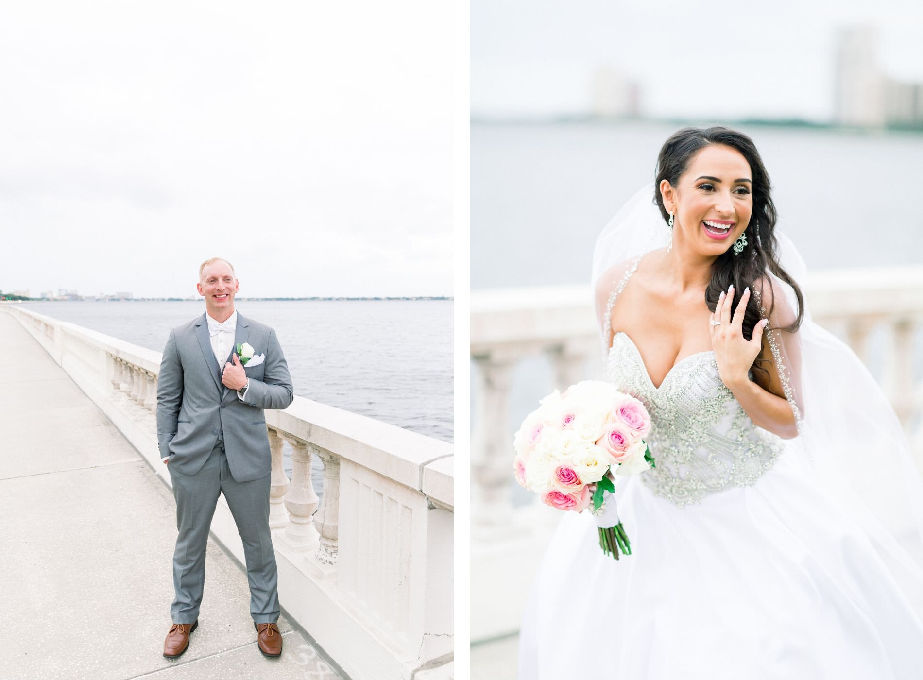 Groom in Gray Suit with White Rose Boutonniere, Bride in Sweetheart Strapless Rhinestone Bodice Ballgown Wedding Dress Holding Pink and White Roses Floral Bouquet Portrait on Bayshore Boulevard | Tampa Wedding Photographer Shauna and Jordon Photography | Wedding Dress Truly Forever Bridal