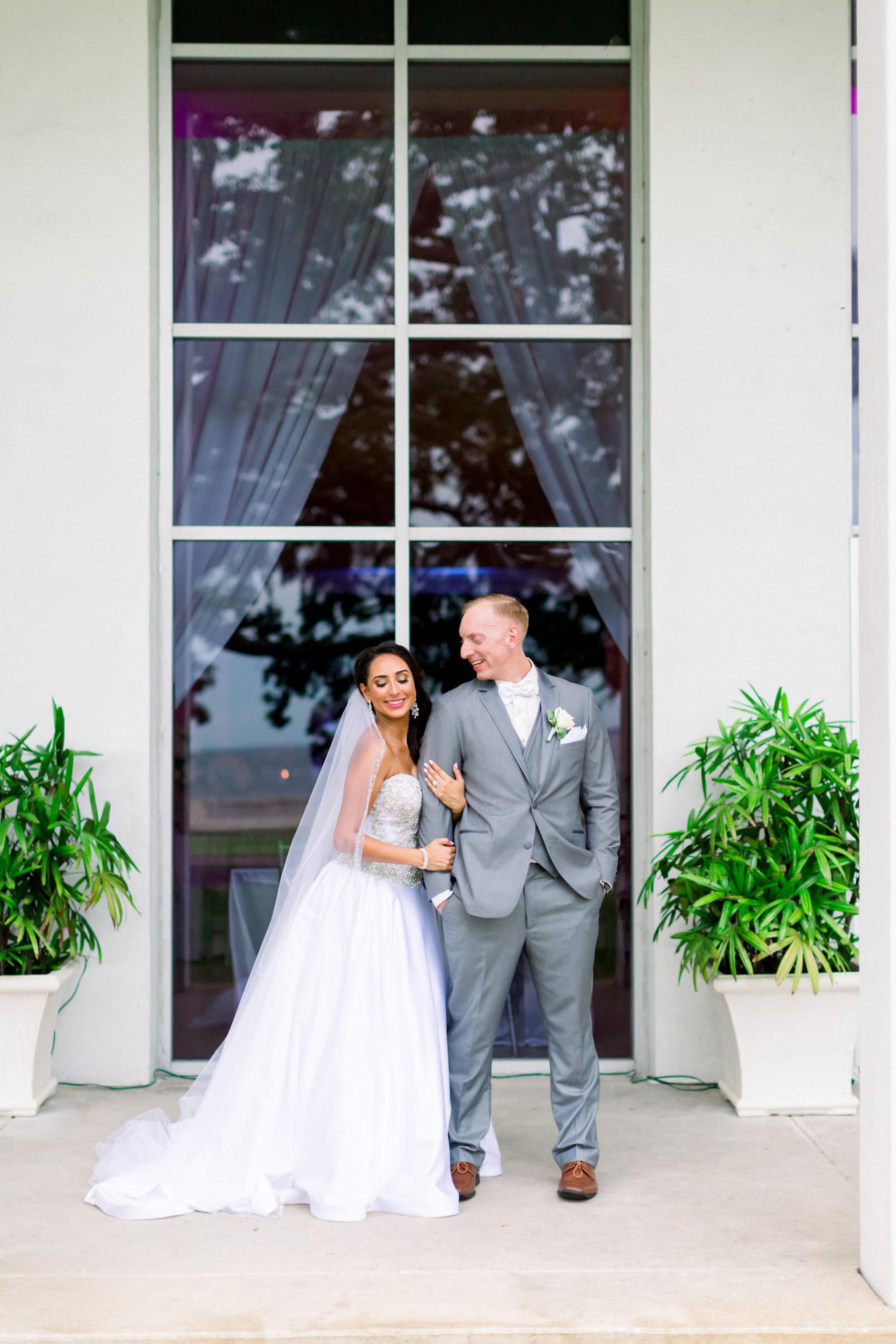 Romantic Bride and Groom Wedding Portrait | Wedding Venue Tampa Garden Club | Wedding Photographer Shauna and Jordon Photography | Wedding Dress Truly Forever Bridal