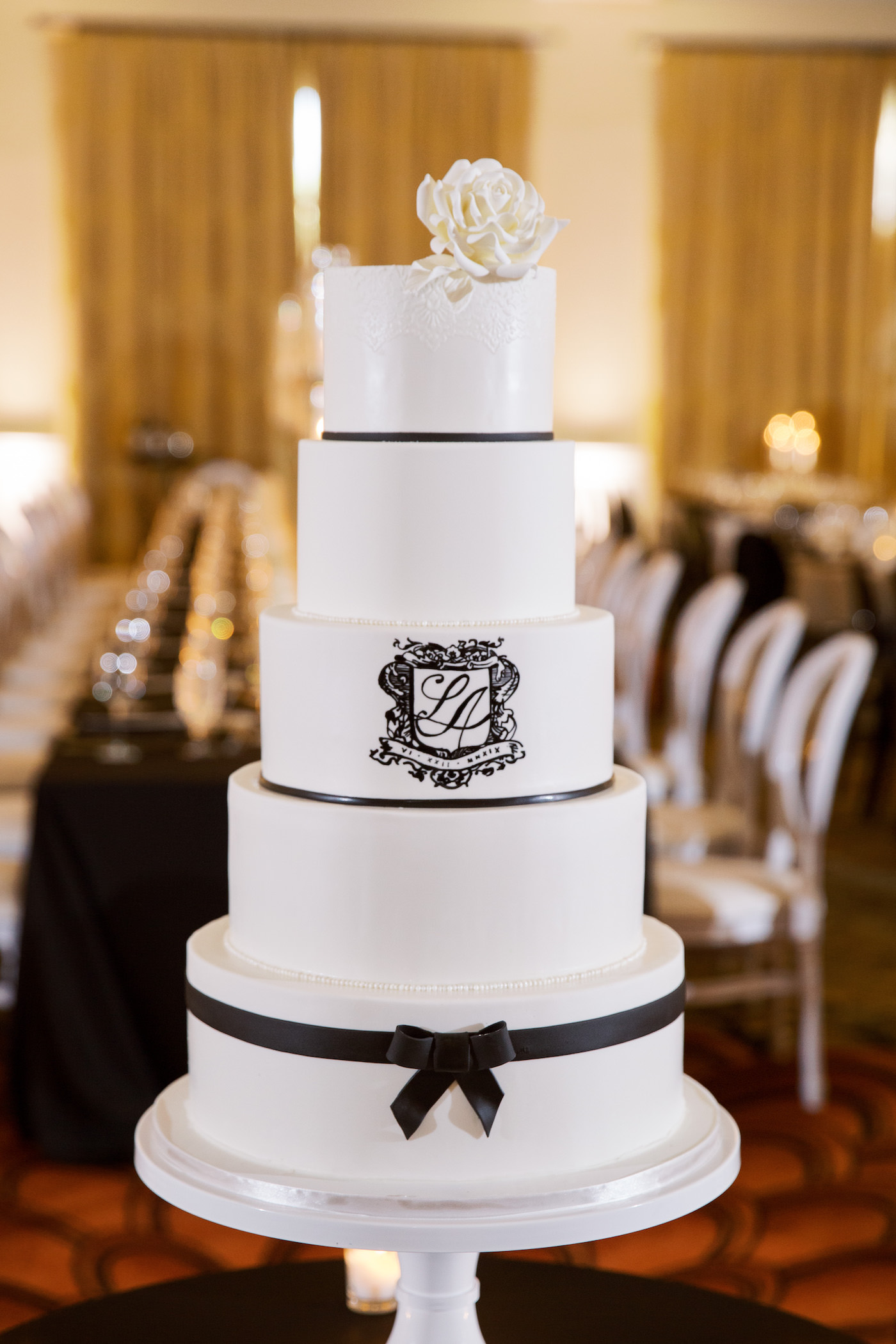 Classic Timeless Elegant White Five Tier Wedding Cake with Black Ribbon and Custom Monogram, White Rose Cake Topper | Tampa Bay Wedding Planner Parties A'la Carte