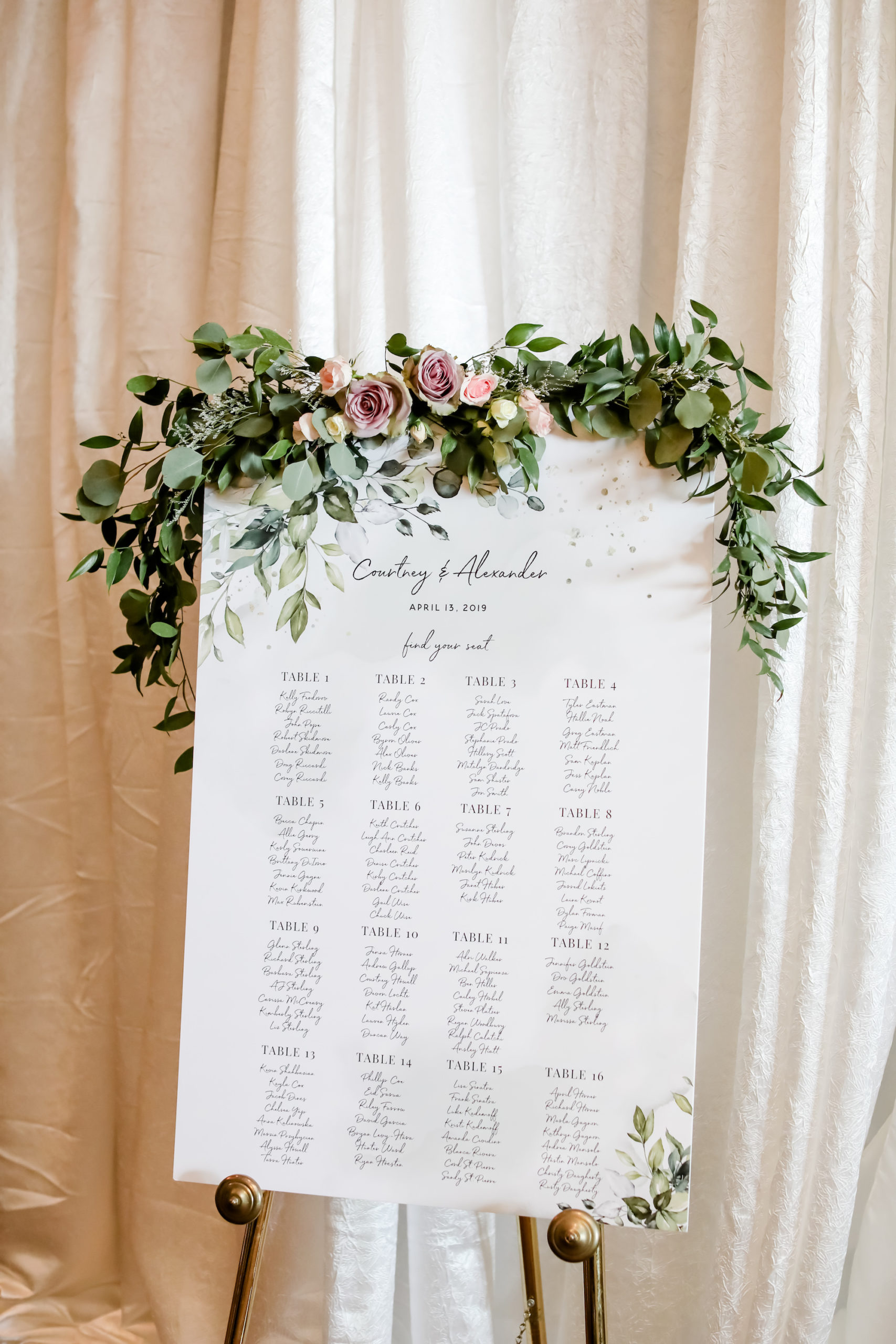 Romantic, Spring Time Inspired Wedding Decor and Seating Chart, Lush Greenery with Mauve, Purple, Pink and White Roses Floral Arrangement   Tampa Bay Wedding Planner Blue Skies Weddings and Events   Florida Wedding Photographer Lifelong Photography Studio