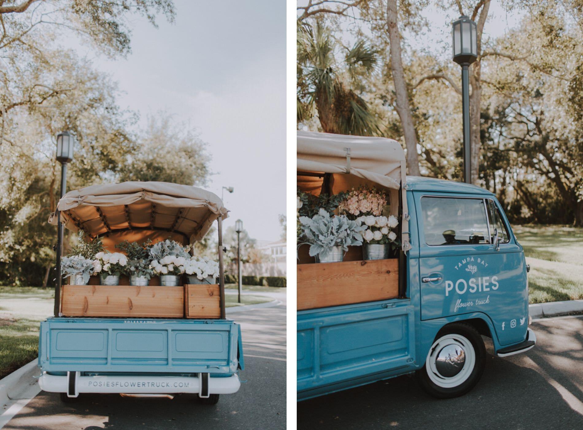 Posies Flower Truck | Unique Tampa Bay Wedding Favors | Bouquet Wedding Favors | Vintage Truck Wedding