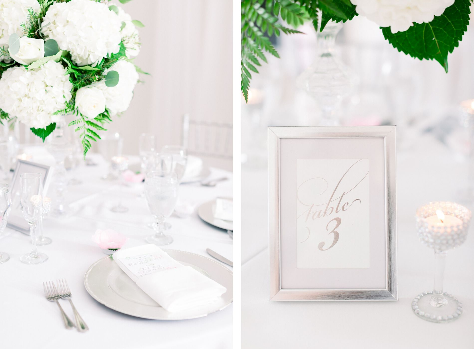 Garden Glam Classic Wedding Reception Decor, White Hydrangeas and Roses with Greenery Floral Centerpiece, Silver Fram Table Number, Silver Chargers | Wedding Photographer Shauna and Jordon Photography