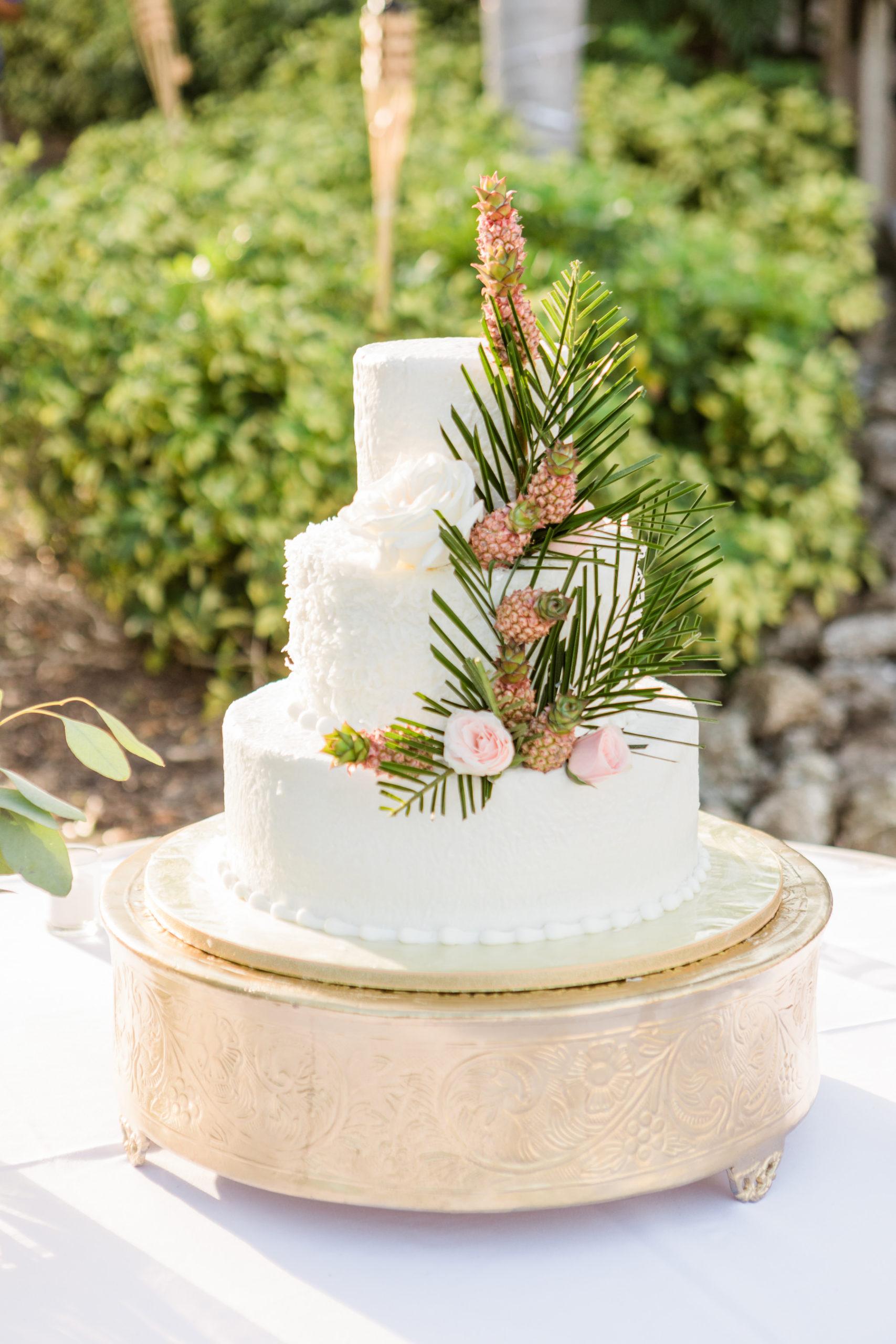 Round Three Tier White Wedding Cake with Tropical Embellishment Decor