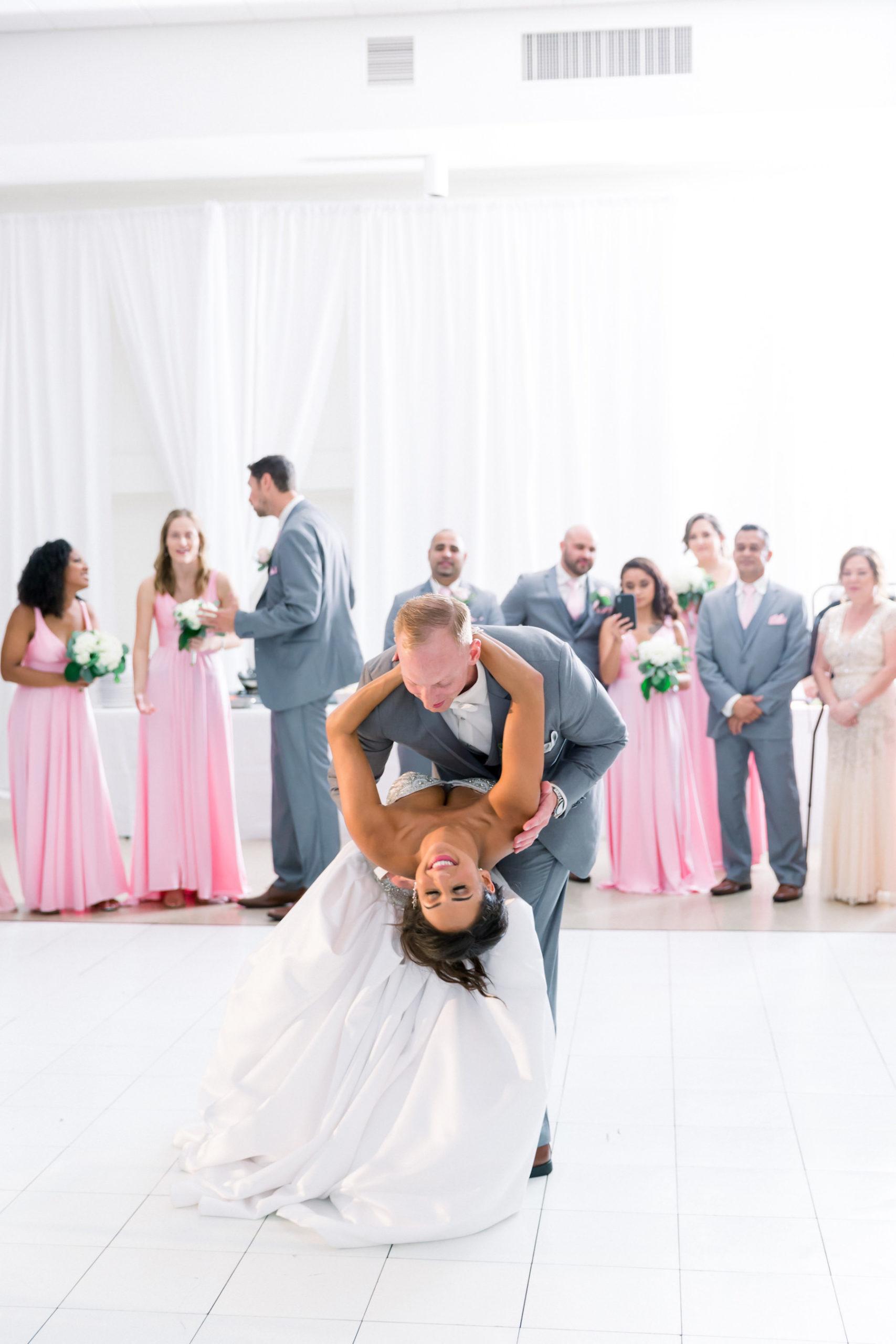 Fun Bride and Groom First Dance Dip Wedding Reception Portrait | Wedding Venue Tampa Garden Club | Wedding Photographer Shauna and Jordon Photography | Wedding Dress Truly Forever Bridal