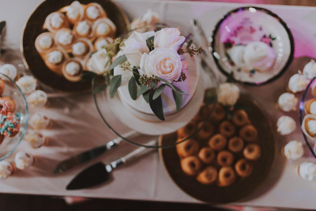 Wedding Dessert Bar | Simple Mini Wedding Cake with Fresh Flower Topper | Mini Donuts and Mini Cupcakes