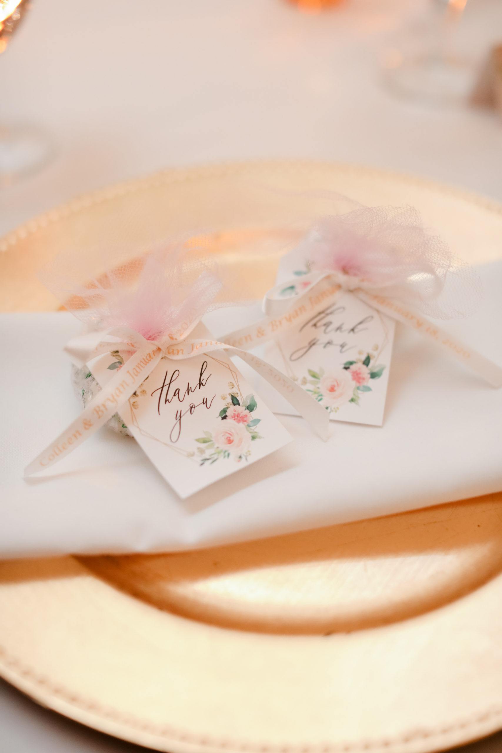 Wedding Place Setting with Gold Charger and White Napkin | Wedding Favors with Watercolor Floral Tags | Blush Dusty Rose