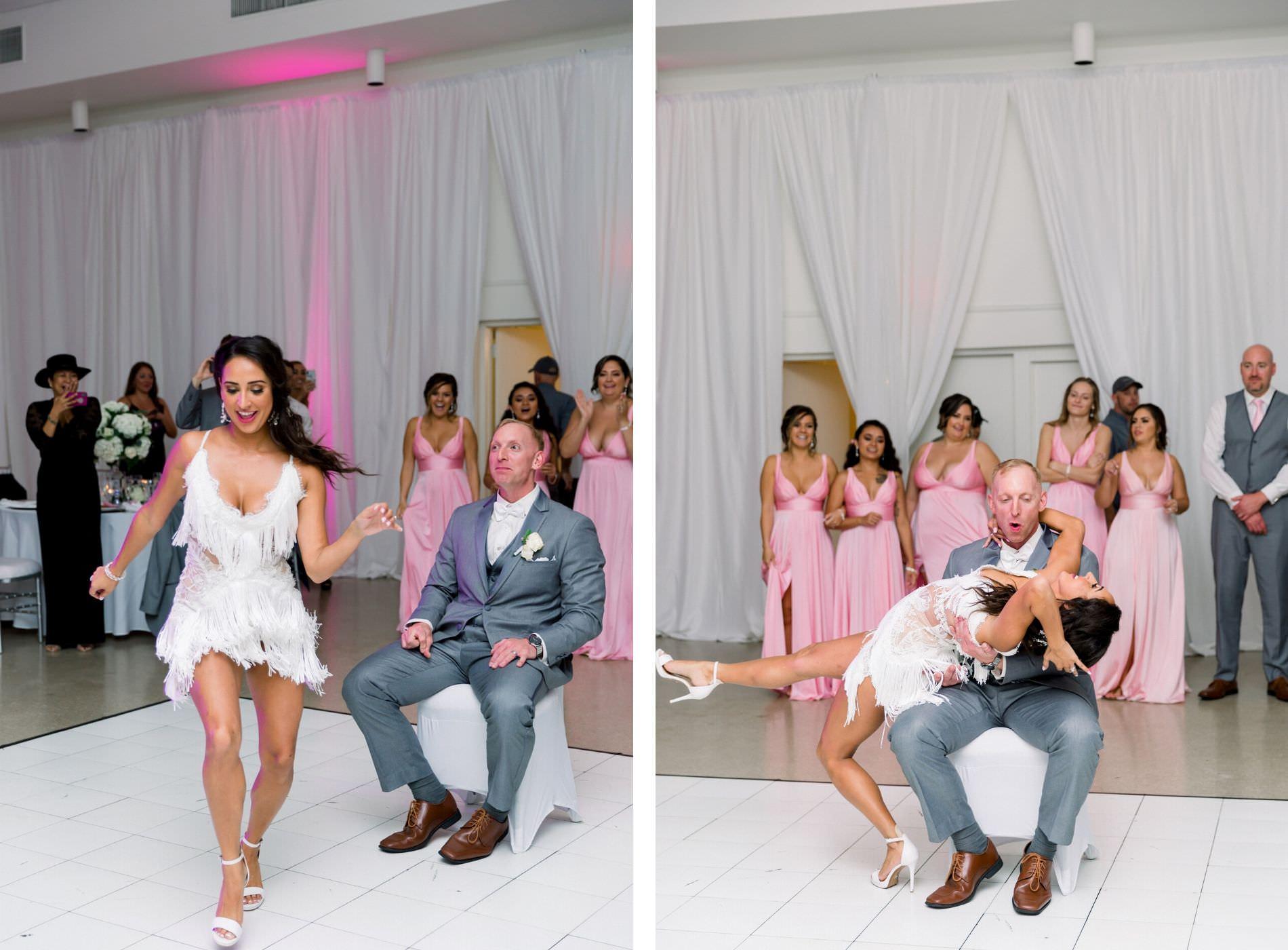 Bride in Fun Tassel White Dress and Groom Surprise Choreographed Dance Dip Ballroom Wedding Reception Portrait | Tampa Garden Club Wedding Venue | Wedding Photographer Shauna and Jordon Photography