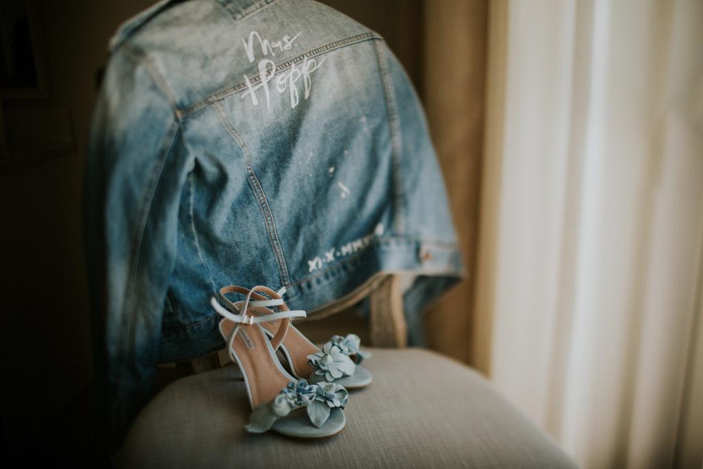 Custom Bride Jean Denim Bleach Pen Name Jacket | Something Blue Bridal Wedding Shoes