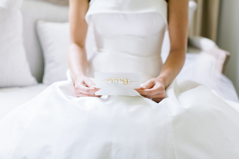 Tampa Bride Reading Letter From Groom Getting Wedding Ready Portrait