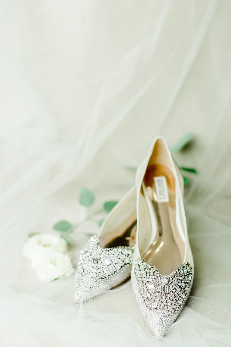 Badgley Mischka Designer Rhinestone Pointy Toe Bride Wedding Shoes