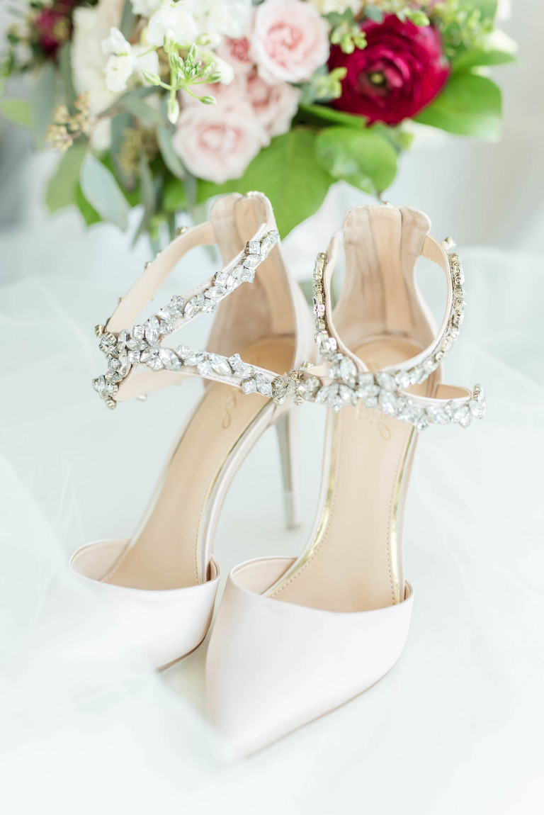 Bride Wedding Pointy Toe High Heel Shoes with Rhinestone Ankle Straps