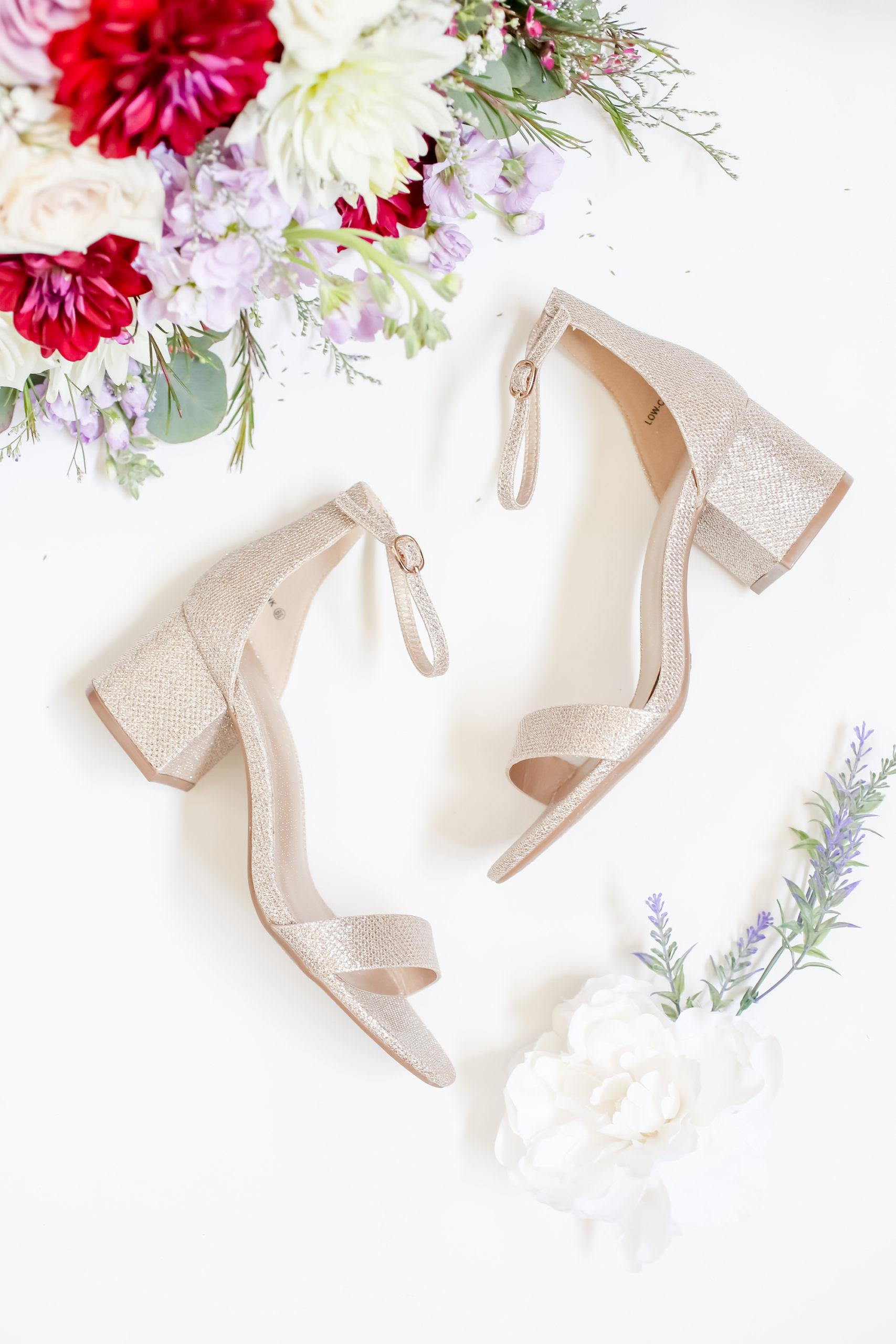 Bridal Detail Shot of Gold Sparkle Block Heel and Sandal Wedding Shoes   Florida Wedding Photographer Lifelong Photography Studio